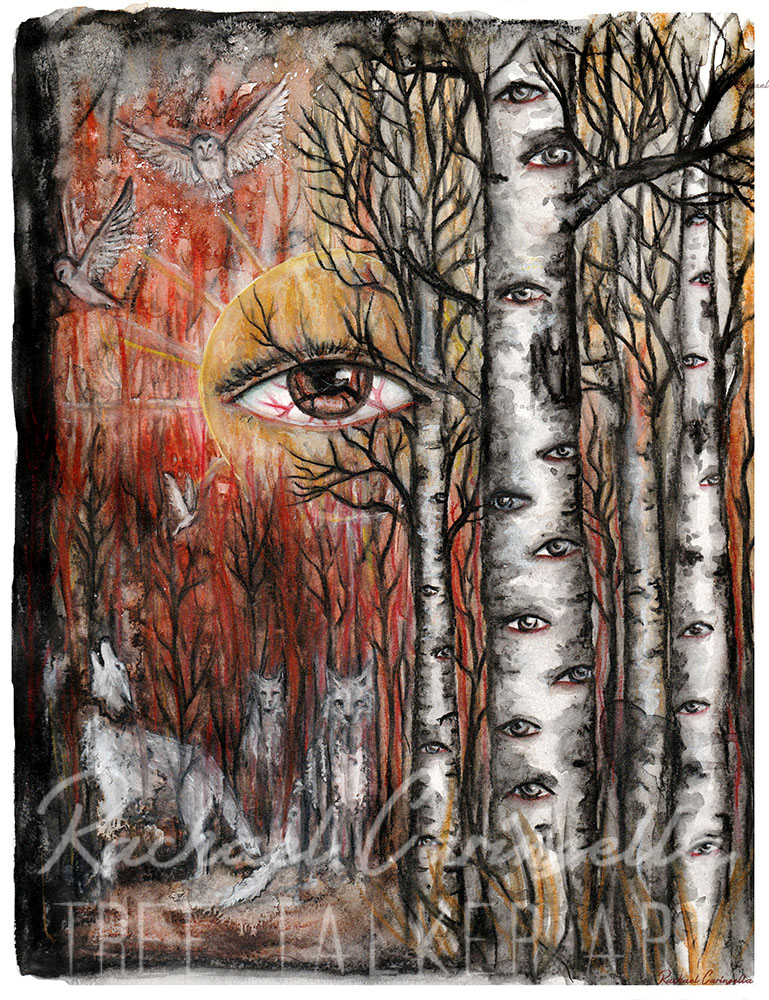 Watchers | Mixed Media Watercolor, Colored Pencil | Tree T