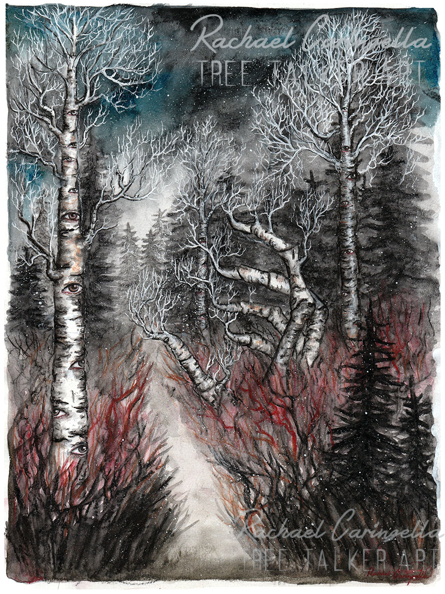Welcome Winter | Mixed Media Watercolor, Colored Pencil | Tree T
