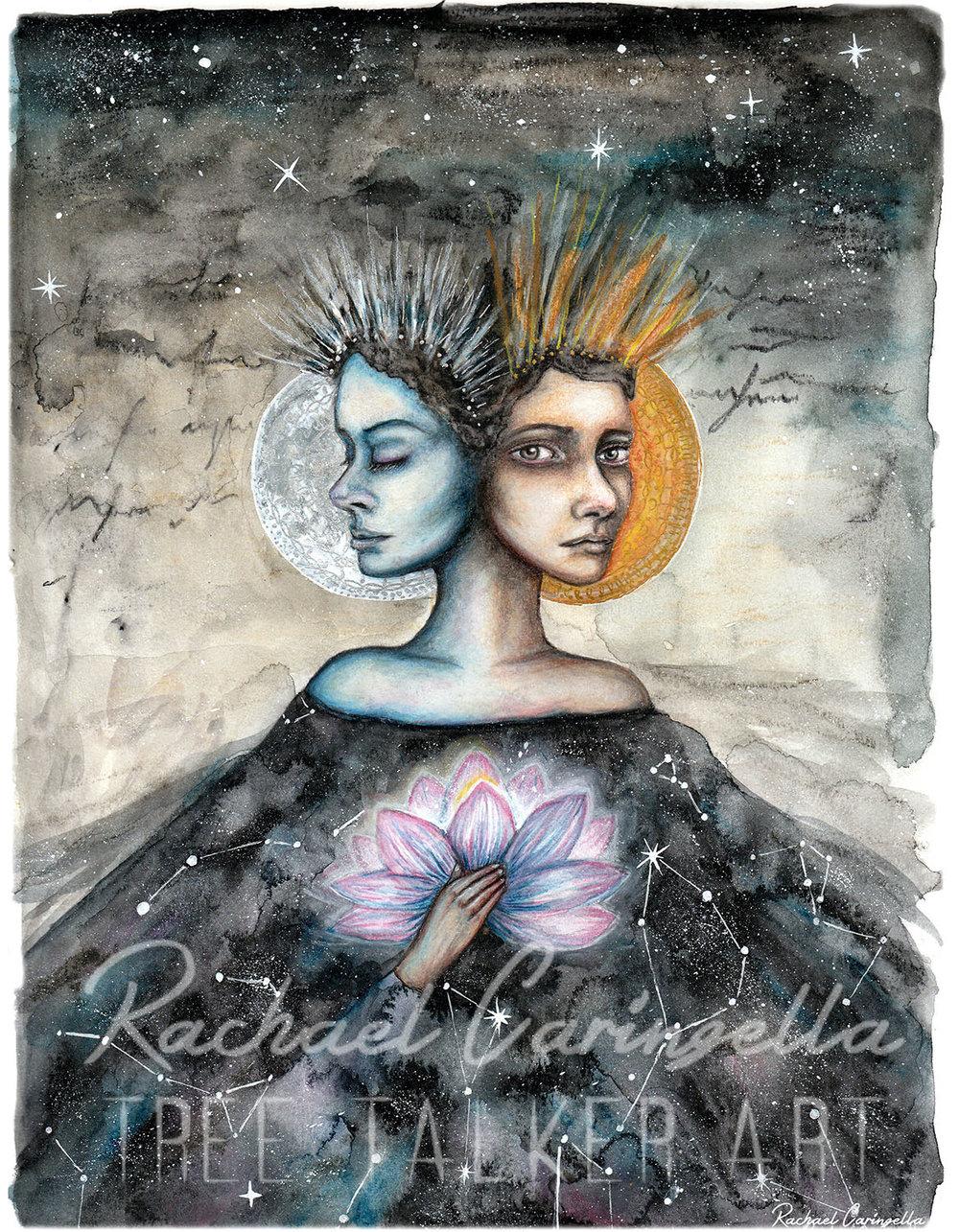 Duality Mixed Media Art | Tree Talker Art Rachael Caringella