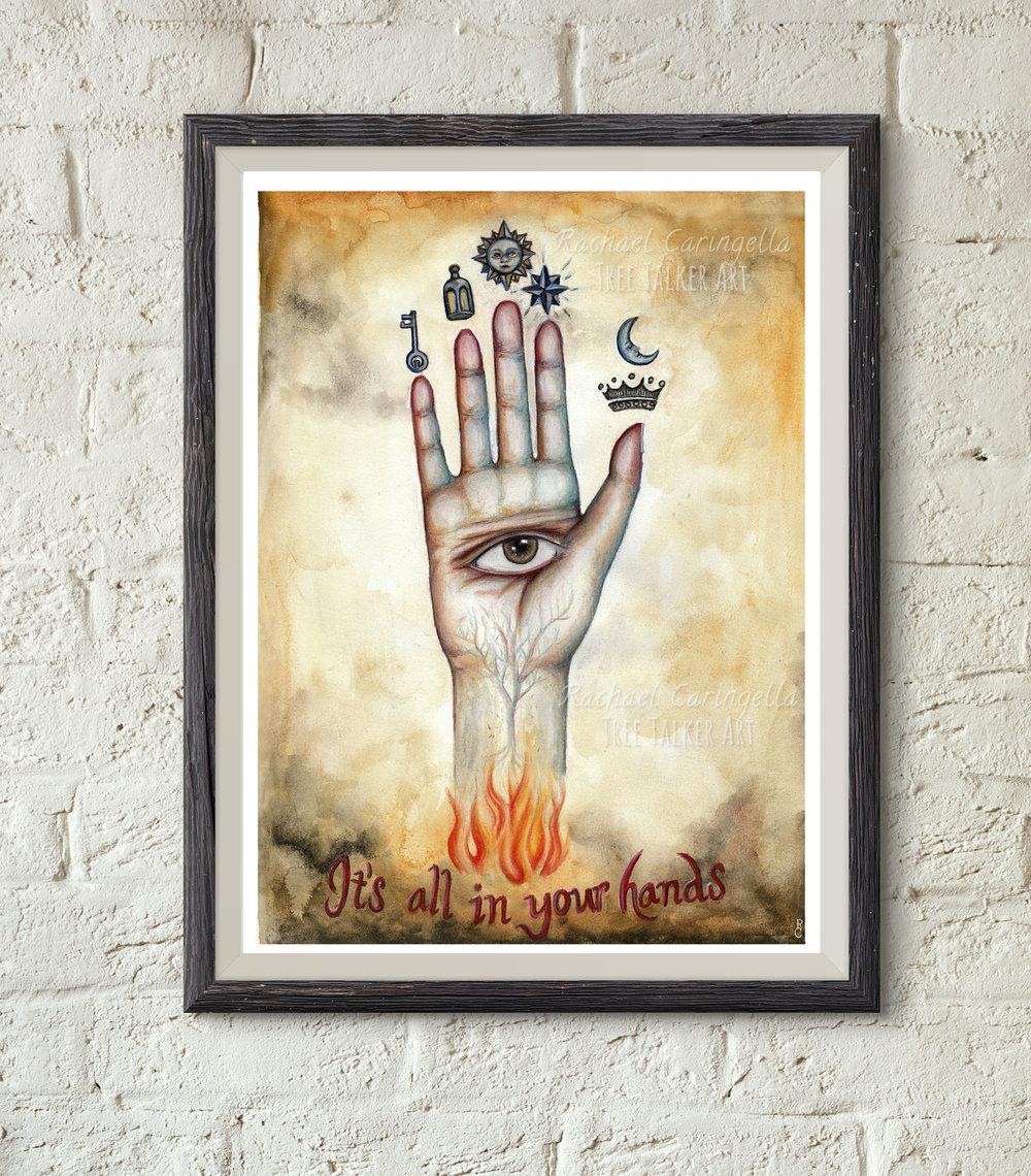 Alchemical Hand - Mixed Media Psychic Sign by Rachael Caringella | Tree Talker Art