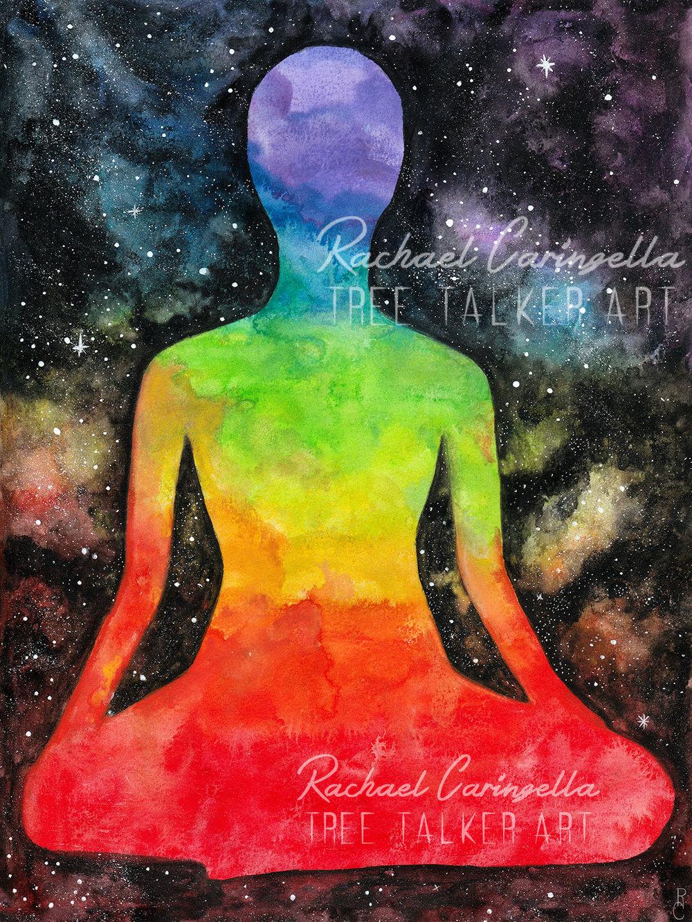 Meditating Chakra Figure Galaxy Rainbow Painting by Rachael Caringella | Tree Talker Art