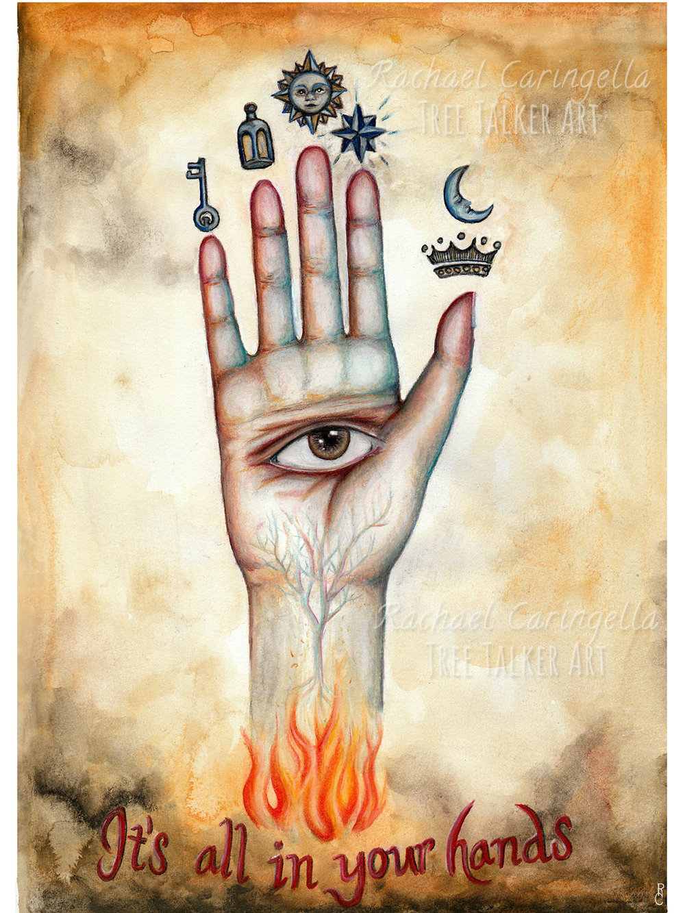 Alchemey Hand of the Philosophers Mixed Media Watercolor Painting by Rachael Caringella | Tree Talker Art