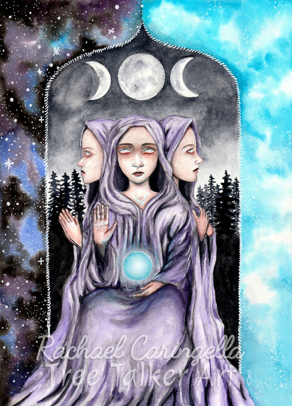 The High Priestess - Tarot Card Art- Rachael Caringella - Tree Talker Art