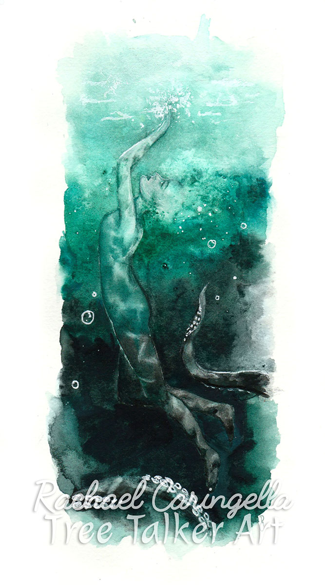 In Deep - Under water watercolor Painting - Tree Talker Art - Rachael Caringella