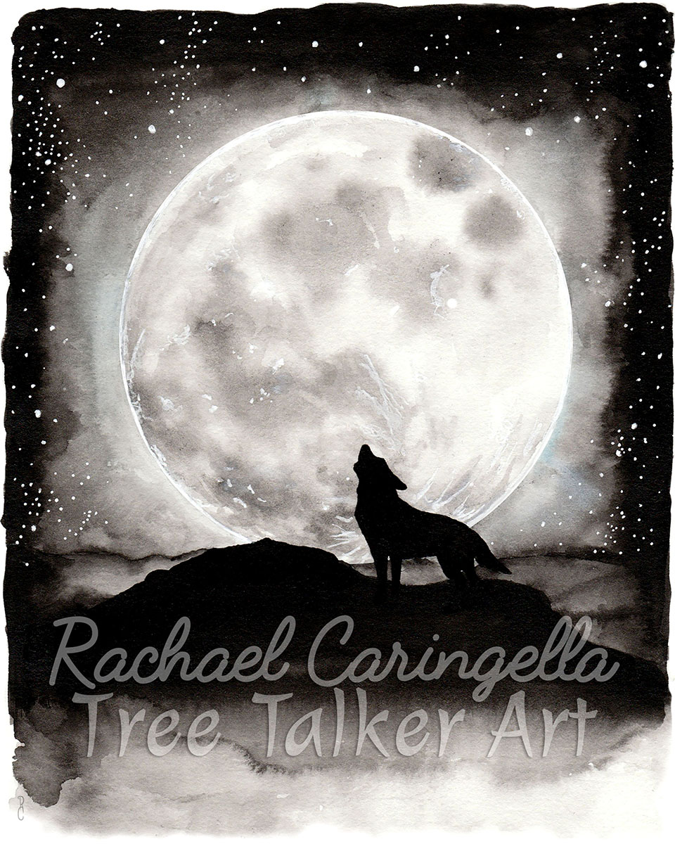 Wolf Howling Under Full Moon Ink and Watercolor Painting - Tree Talker Art