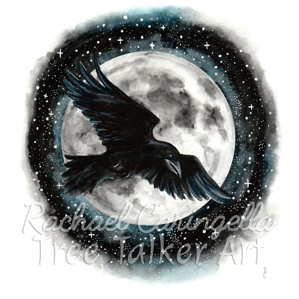 Moonlit Raven _ Watercolor Raven Crow Painting by Rachael Caringella | Tree Talker Art