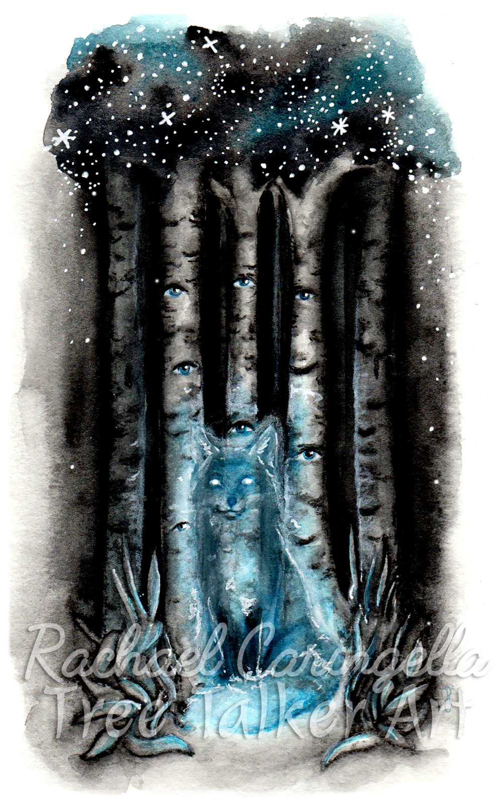 Spirit Fox | Rachael Caringella Watercolor | Tree Talker Art
