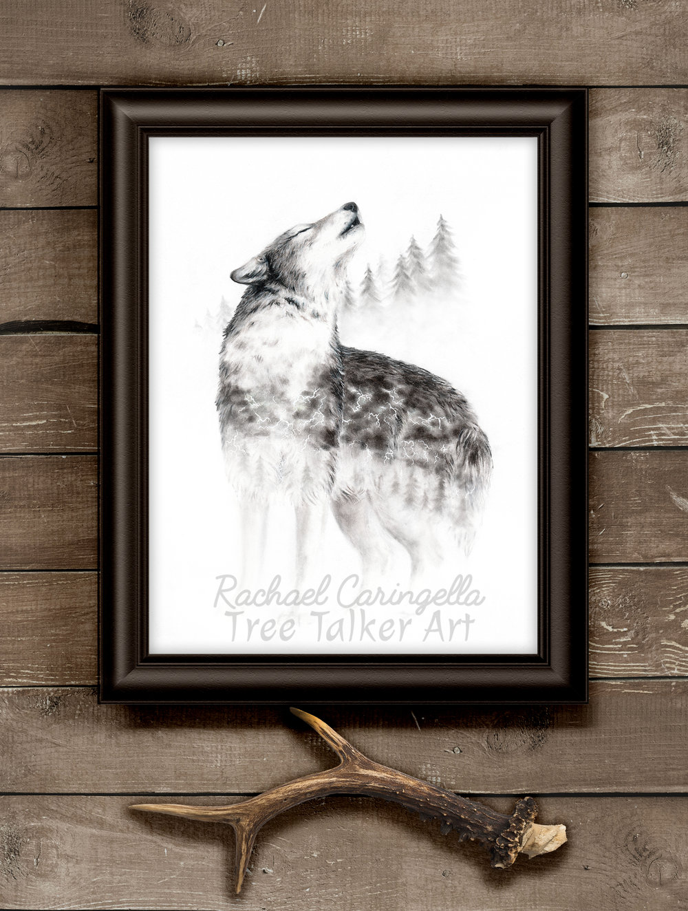 """Mourning Song"" Wolf Howling Art 