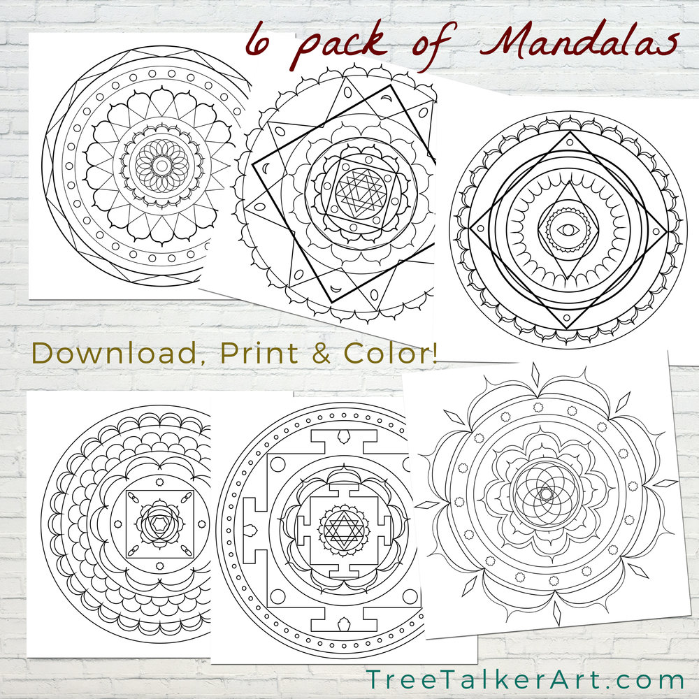Free Colorable  Mandalas Tree Talker