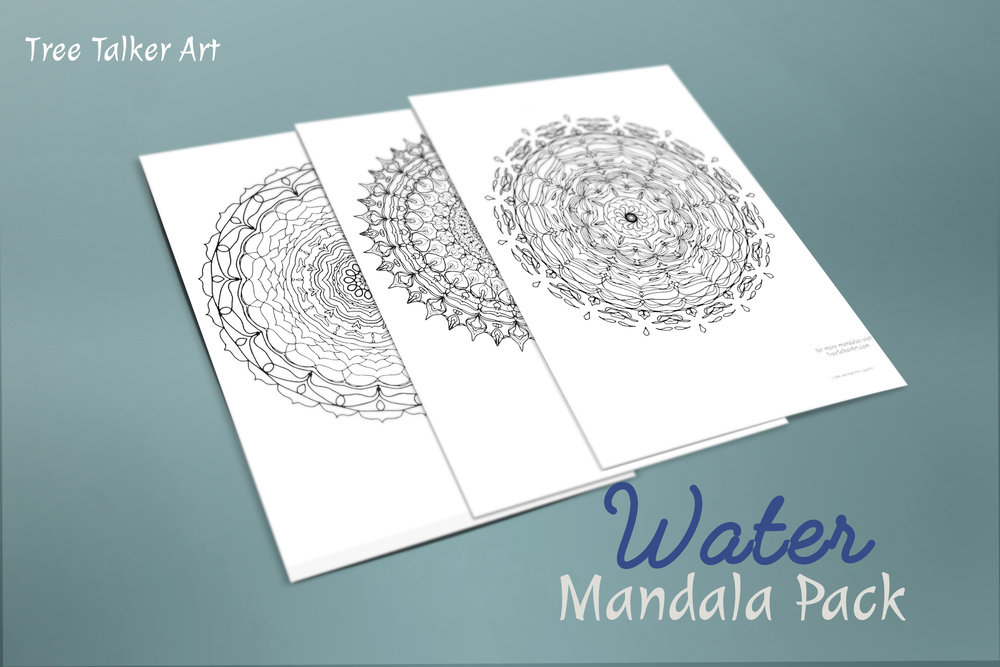 Water Downloadable Mandala Meditation Pack | Tree Talker Art