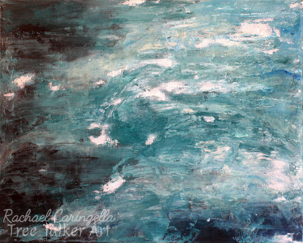 Abstract Art - Large Abstract Painting - Hear the Break of the Wave and See- Glow in the Dark- 16x20 - Ocean Art - Mixed media art