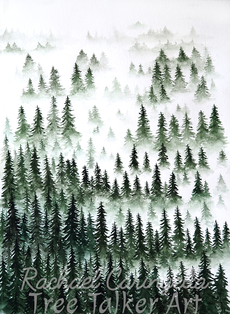 Misty Trees Original Painting - Foggy Trees by Rachael Caringella - Tree Talker Art - Watercolor Painting
