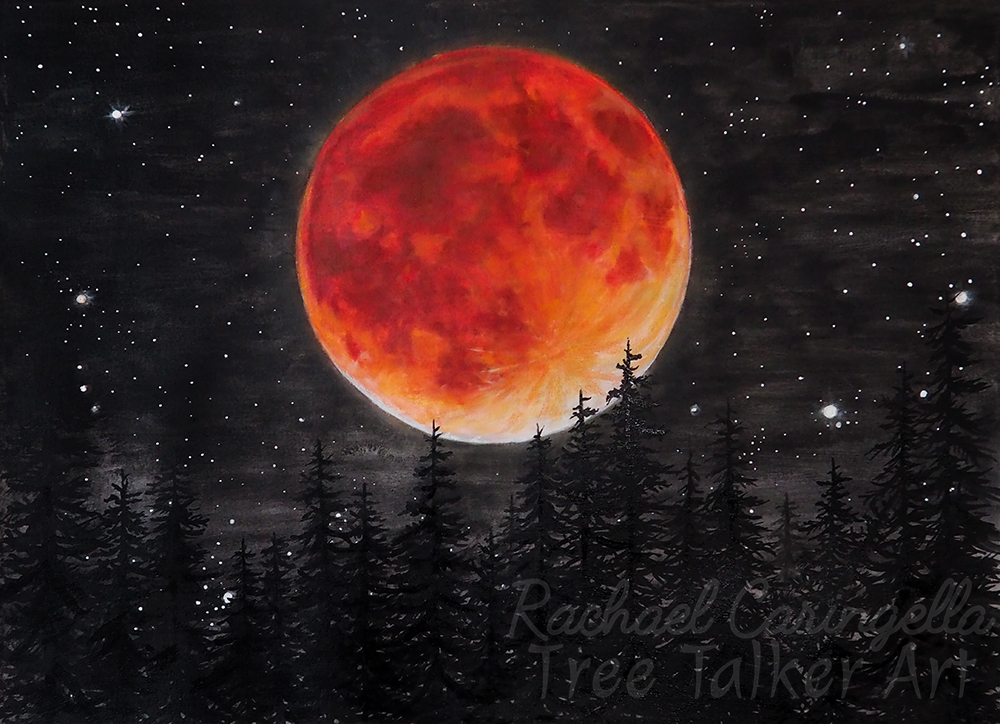 Lunar Eclipse Giclee Print - Blood Moon Art by Rachael Caringella - Full Moon - Tree Talker Art