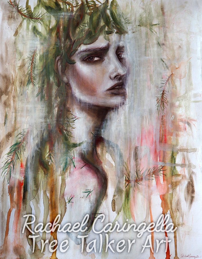 "Original Mixed Media Portrait Painting - ""Laurel Tree"" by Rachael Caringella - Tree Talker Art - Mixed Media Art"