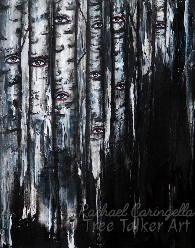 "Original Acrylic Aspen Tree Painting - ""Night Time Watchers"" by Rachael Caringella - Tree Talker Art - Acrylic Aspen Tree Painting"