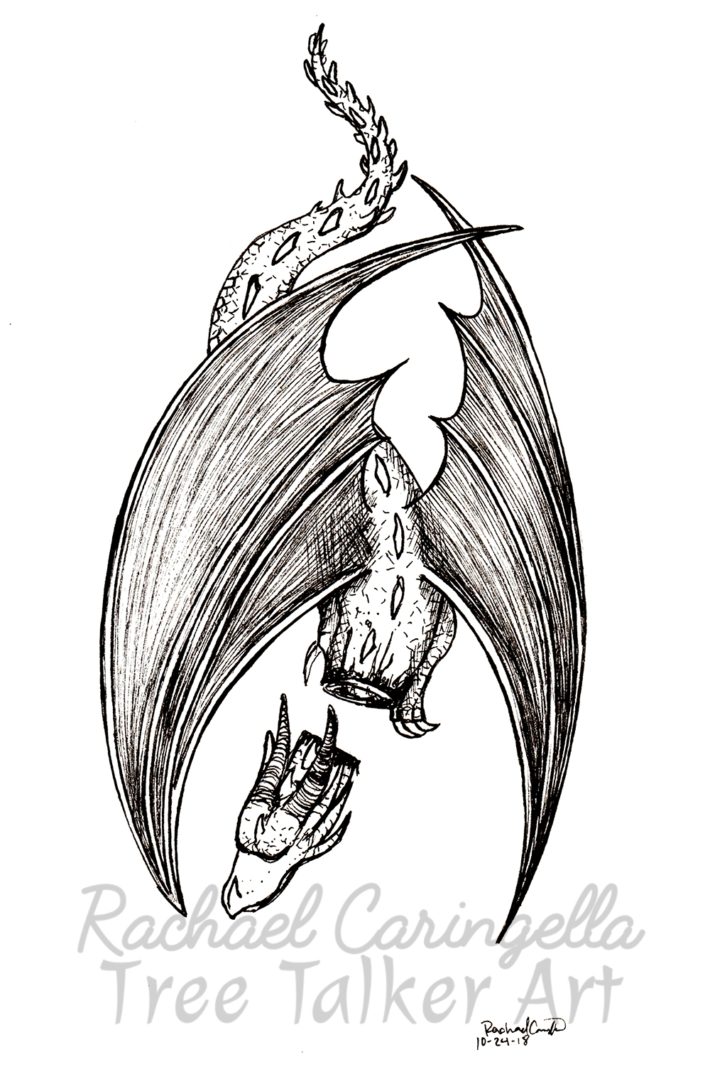 Tree Talker Art Inktober 2018 Illustration of Dead Dragon