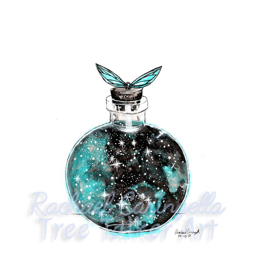 Tree Talker Art Inktober 2018 Illustration of a bottle of fairy dust