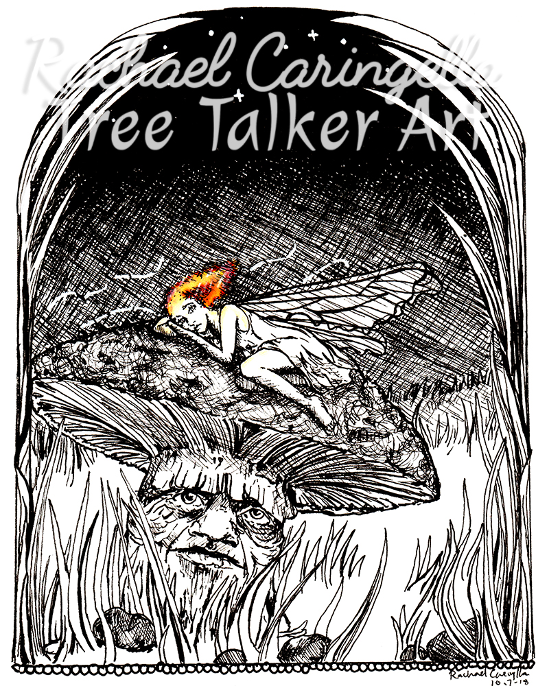 Tree Talker Art Inktober 2018 Illustration of a Tired Fairy On a Mushroom
