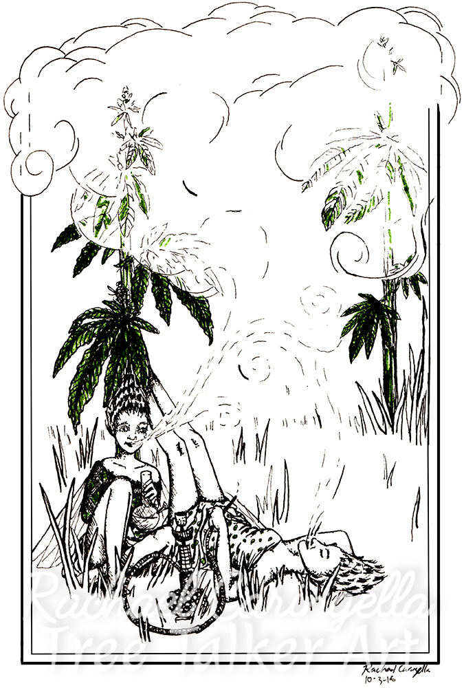 Smoking Fairies Tree Talker Art Inktober 2018 Illustration of smoking fairies cannabis
