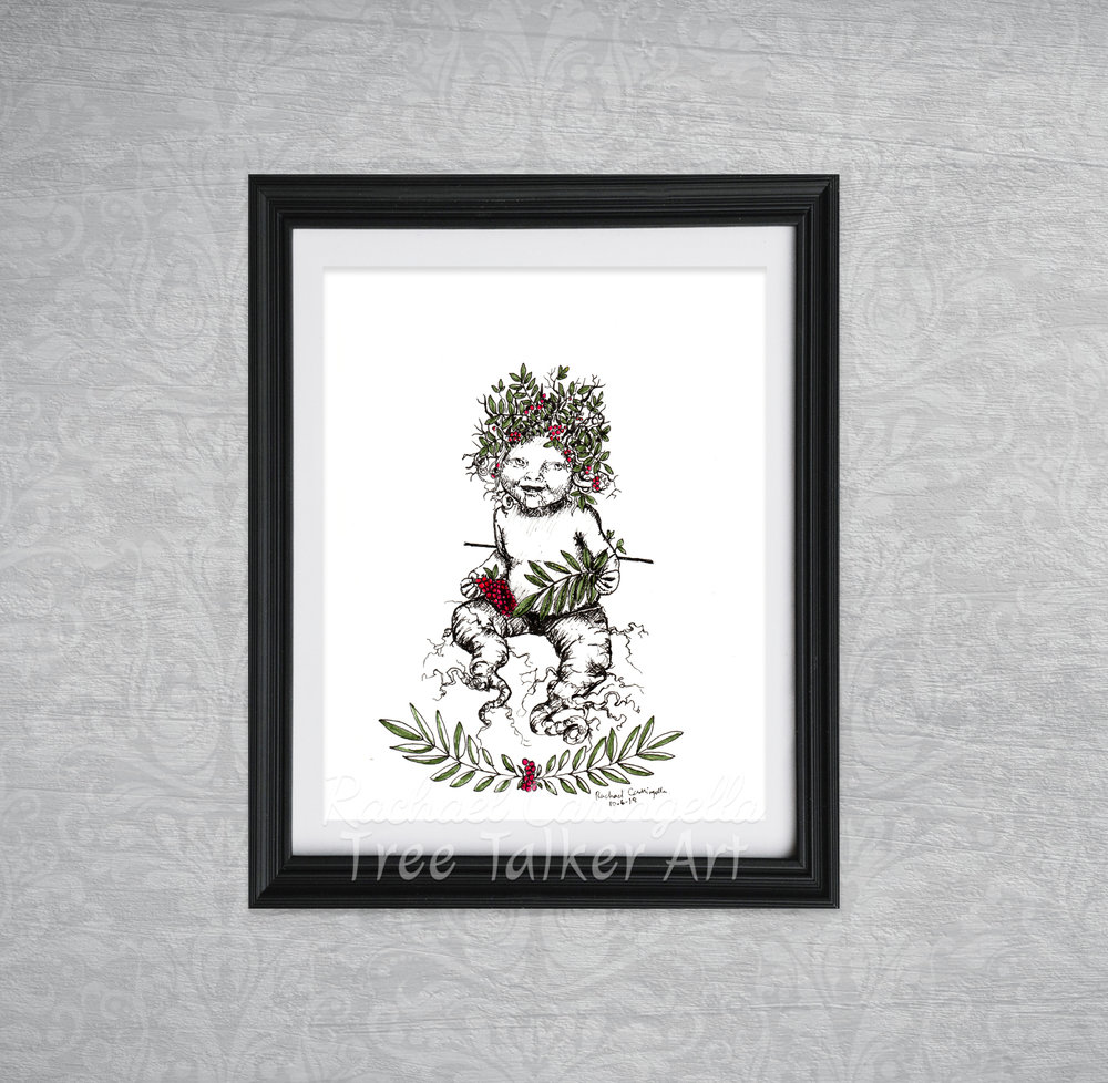 Mandrake Baby Tree Talker Art Inktober 2018 Illustration of Mandrake Baby Rowan