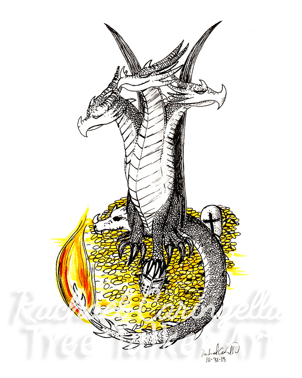 Three Headed Dragon Art Inktober 2018 Illustration of a  Three Headed Dragon