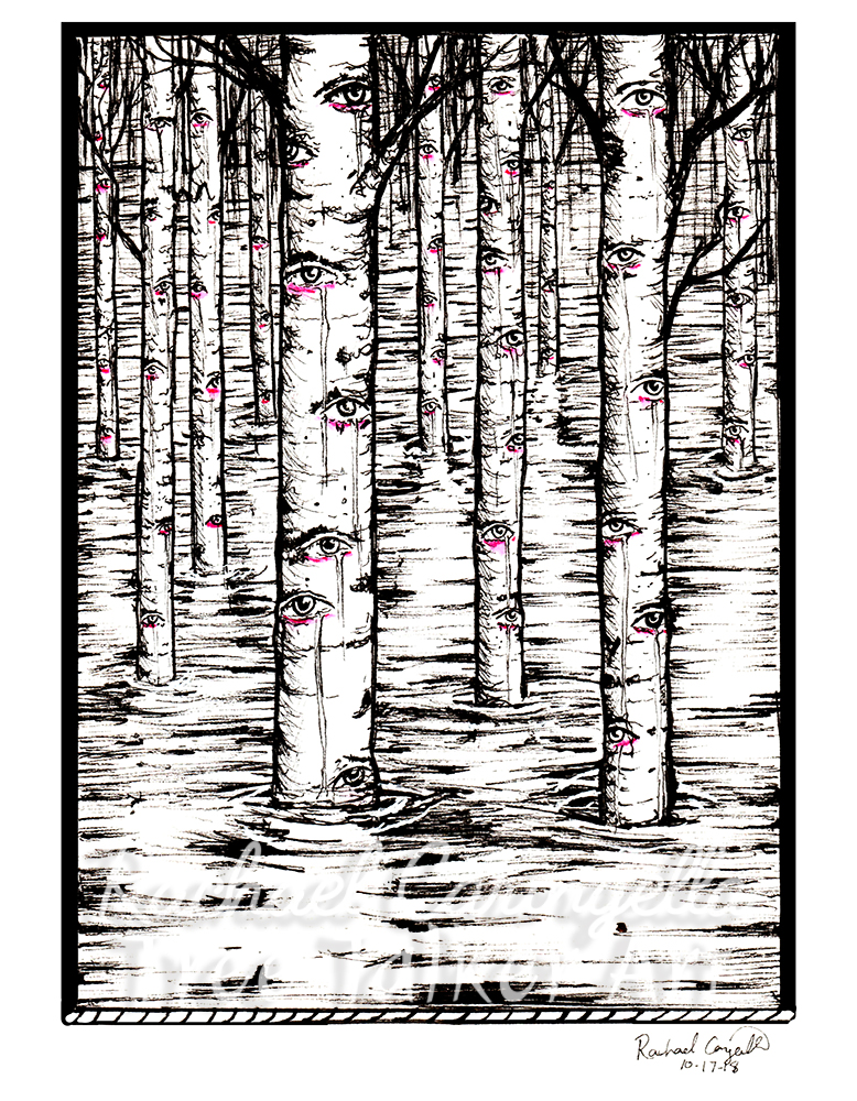 Aspen Eyes Flooded Forest Art Inktober 2018 Illustration of a Flooded Aspen Eye Forest