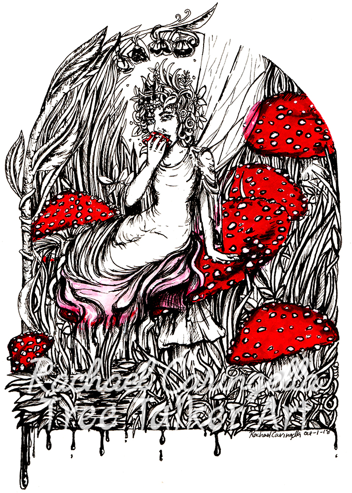 Fairy Eating Mushroom Inktober 2018 Illustration of a Fairy Eating Mushroom