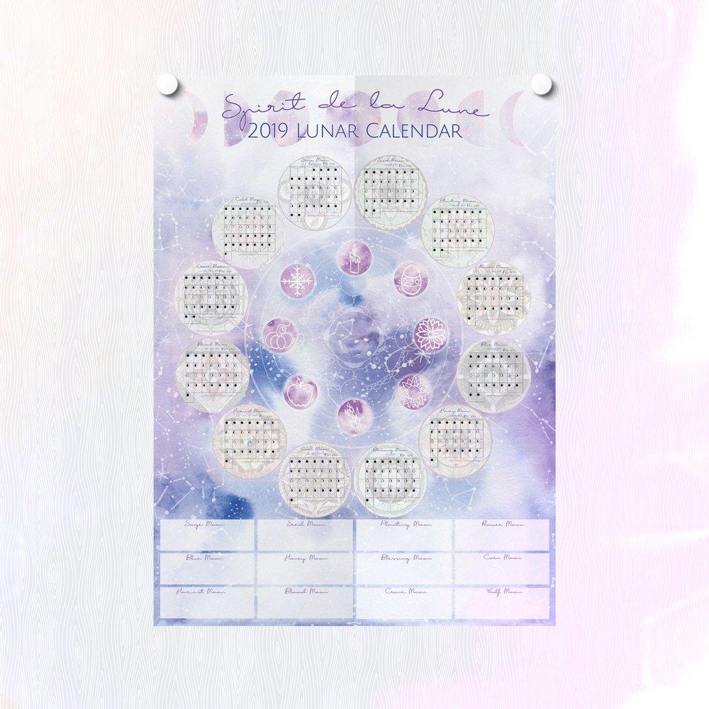 Spirit de la Lune 2019 Lunar Planner Calendar