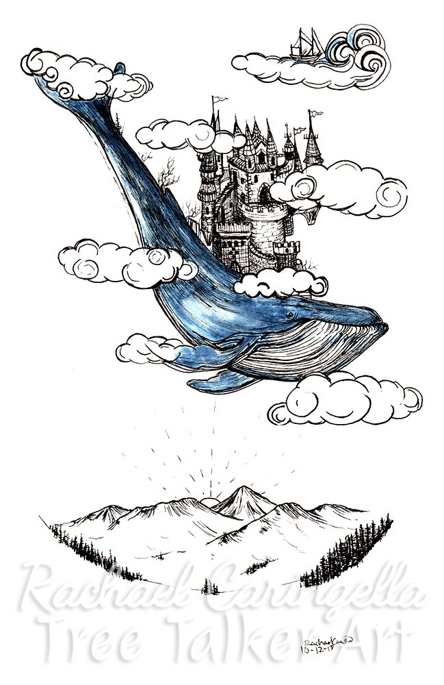 Castle on a whale Inktober 2018 Illustration of a castle on a whale