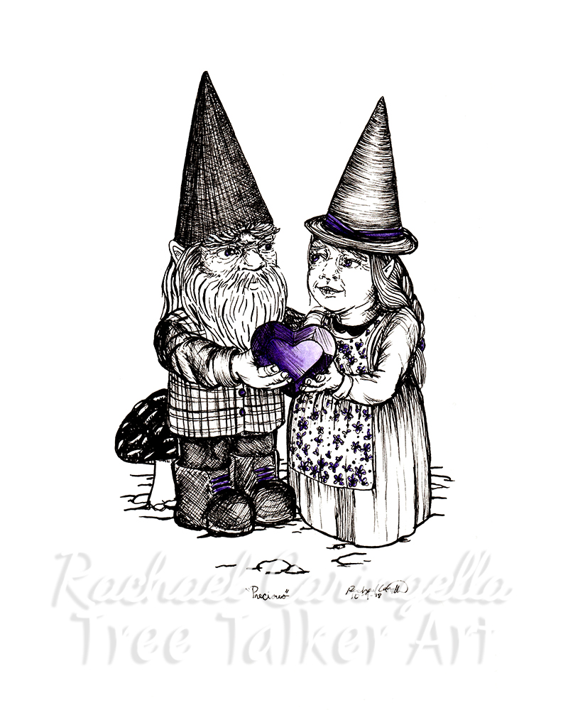 Gnome Lovers Inktober 2018 Illustration of a Gnomes in love