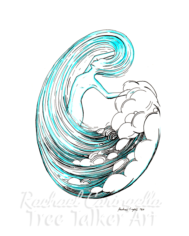 Water Spirit Inktober 2018 Illustration of a Water Spirit