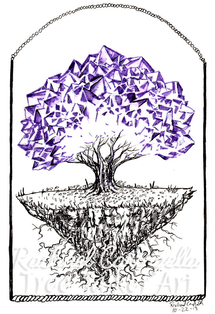 Crystal Tree Inktober 2018 Illustration of a Crystal Tree
