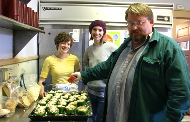Lauren Hart (Culinary Director), Kim Anderson, and Brian Meade stand proud beside their sausage stuffed peppers.