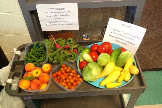 Donation Station recipients Fuel Up's Summer Gap Program provides fruits and vegetables donated by The Fearrington Farmers' Market