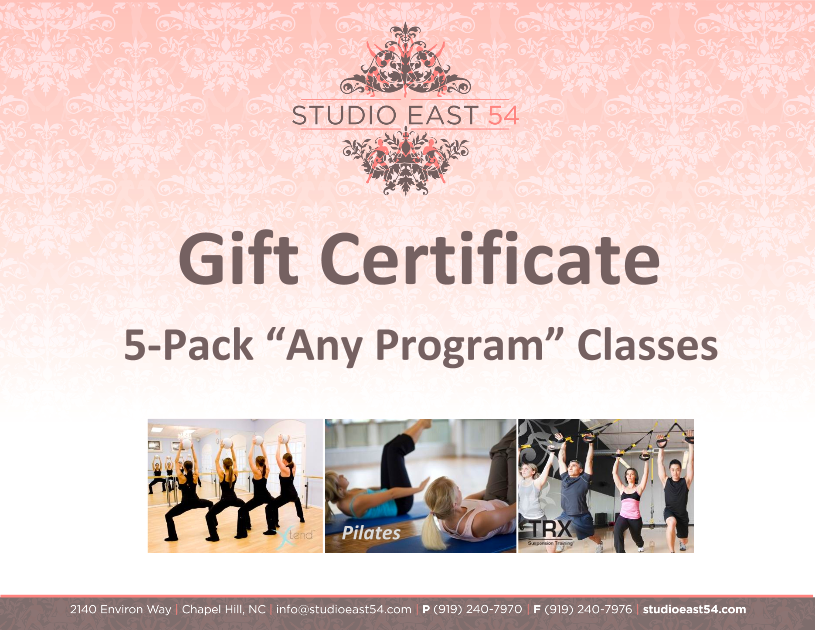 Classes of your choice from Studio East 54 Our mission is to provide superior health education and the highest quality fitness services, with the purpose of empowering individuals to achieve a healthier lifestyle.Choose from Pilates, TRX, Xtend Barre, and Zumba! Provided by: Studio East 54