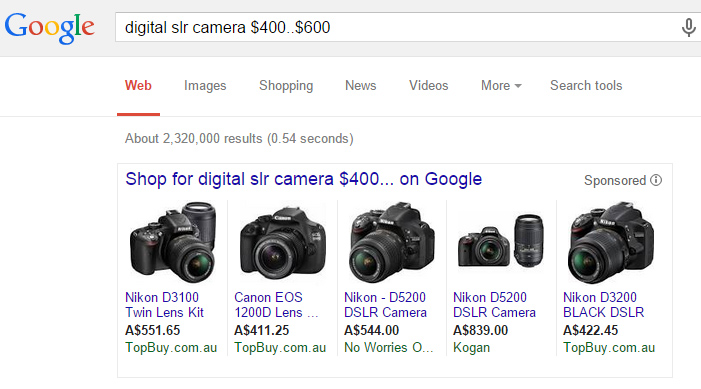 google search a price range