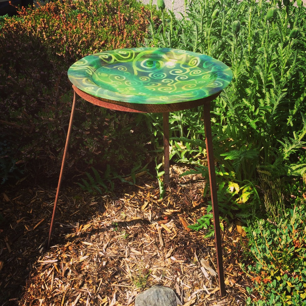 Birdbath that was created after a light fixture we were designing was the same size.