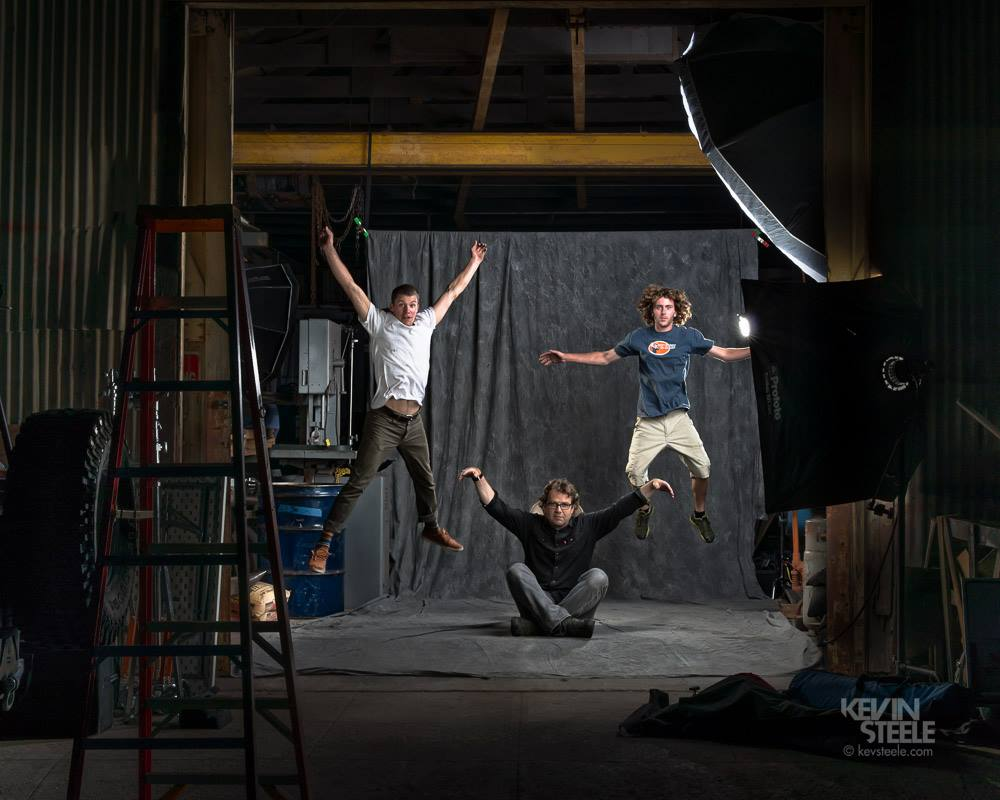 Assistants  Jeremy James Roloff  and  Nico Steele  test the highlights while I hold down the shadows Photo:  Kevin Steele .