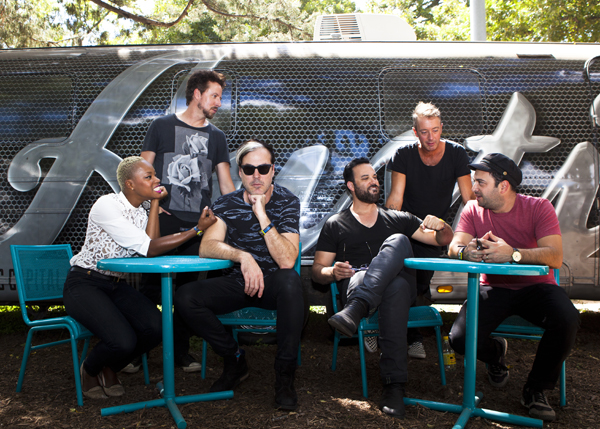 Fitz & The Tantrums at ACL Music Festival 2014. Band members are left to right Noelle Scaggs (vocals), Joe Karnes (bass guitar), Michael Fitzpatrick (lead vocals),  Jeremy Ruzumna (keyboards), John Wicks (drummer) and  James King ( saxophone, flute, keyboard, percussion and guitar).