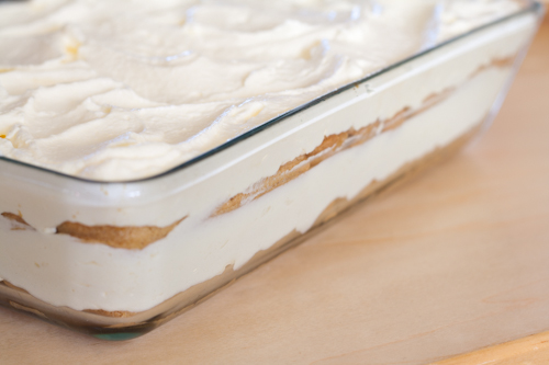 Beautiful fluffy and creamy layers with dipped finger biscuits