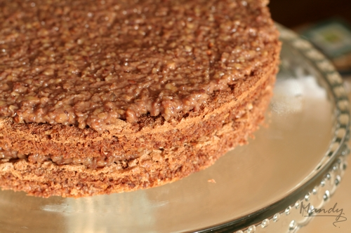 Assembling the layers of airy sponge and crushed pecan nut filling