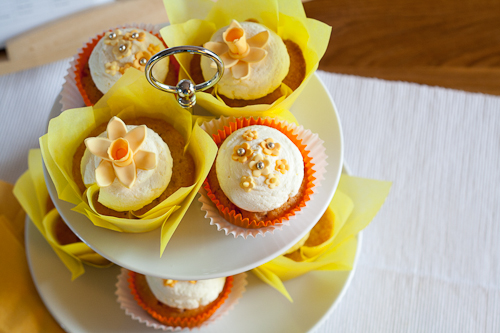 A delicious edible bouquet! luscious lemon & cherry & almond cupcakes