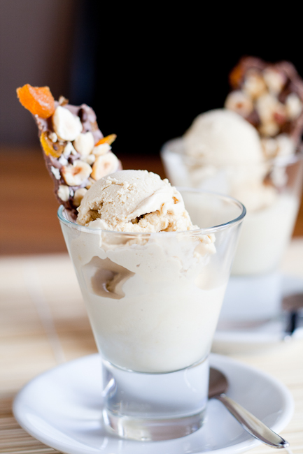 Coffee ice-cream served with hazelnut, coffee bean & dried apricot bark
