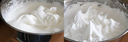 On the left, egg whites beaten to soft peak. on the right, beaten to stiff peak
