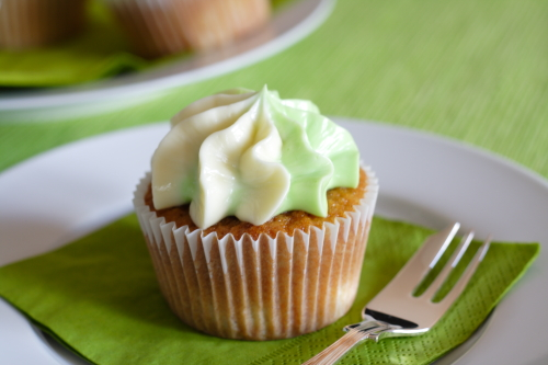 Moist apple cupcakes with vanilla bean cream cheese frosting and filled with caramel