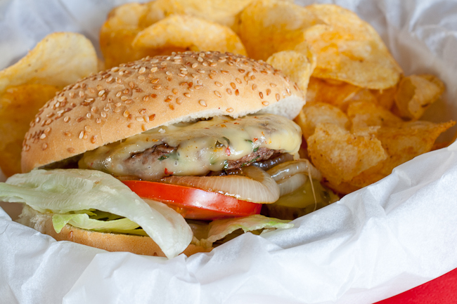My husband's favourite, a juicy burger with chilli cheddar