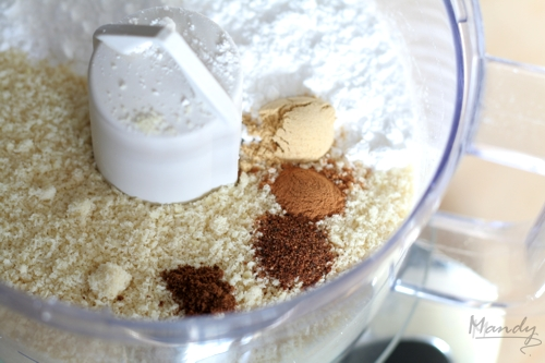 Ground almonds, icing sugar and spices