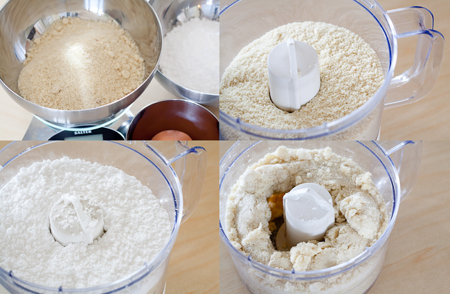 Three simple ingredients processed together to make almond paste