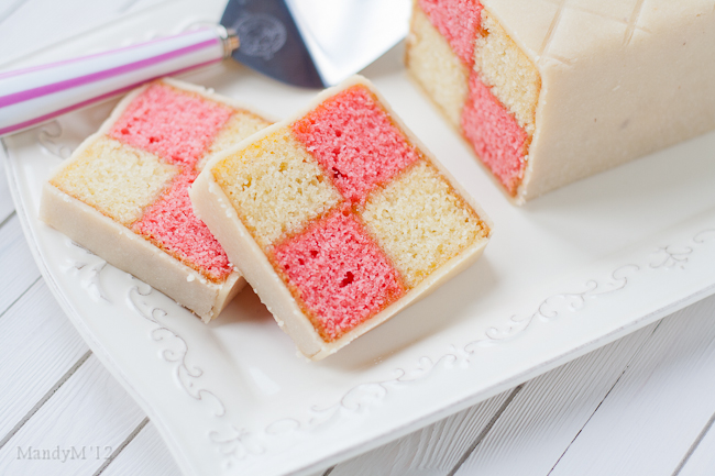 A traditional Battenberg. Almond flavoured sponge glued together with apricot jam and covered with home made marzipan