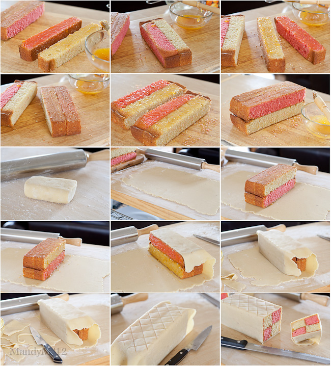 Assembling the Battenberg. A lot of steps but actually quite simple